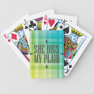 She Digs my Plaid Bicycle Playing Cards