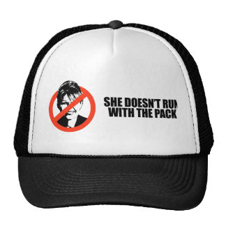 She doesn't run with the pack trucker hat