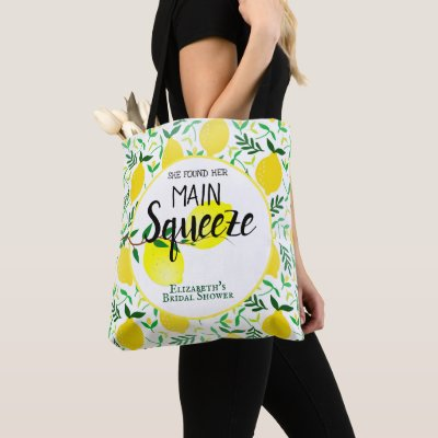 She Found Her Main Squeeze Lemons Bridal Shower Tote Bag