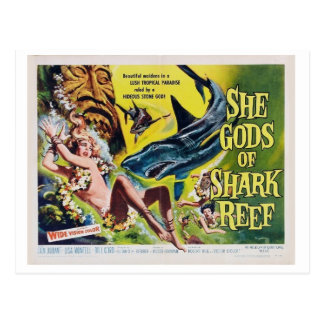 She god of shark reff vintage film postcard 2