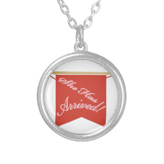 She Has Arrived Round Pendant Necklace