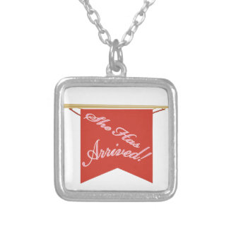 She Has Arrived Square Pendant Necklace