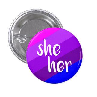 She/Her Pronoun Badge Button