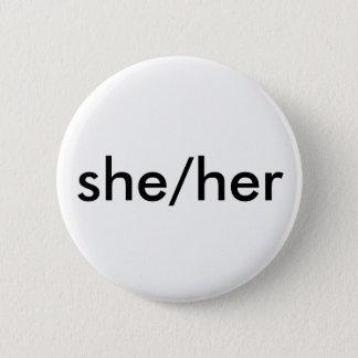 she/her pronoun button