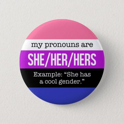 SheHer Pronouns âGenderfluid Flag Pinback Button