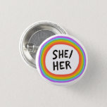 """SHE/HER Pronouns Rainbow Circle Button<br><div class=""""desc"""">Decorate your outfit with this cool art button. You can customize it and add text too. Check my shop for lots more colors and patterns! Let me know if you'd like something custom too.</div>"""