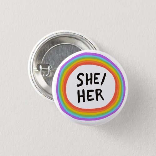SHEHER Pronouns Rainbow Circle Button