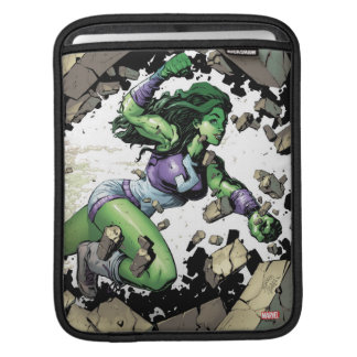 She-Hulk Smashing Through Blocks iPad Sleeve