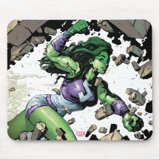 She-Hulk Smashing Through Blocks Mouse Pad
