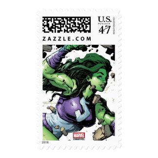 She-Hulk Smashing Through Blocks Postage