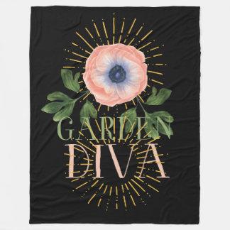 She is a Garden Diva, Pink Poppy Design Fleece Blanket