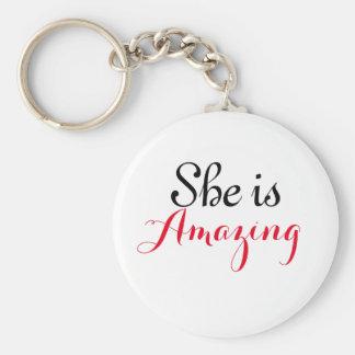 "She is Amazing 2.25"" Basic Button Keychain"