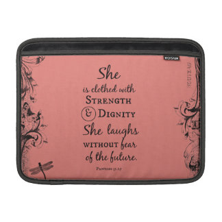 She is Clothed in Strength and Dignity Bible Verse MacBook Air Sleeve