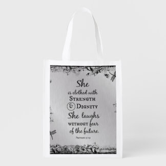 She is Clothed in Strength and Dignity Bible Verse Reusable Grocery Bag