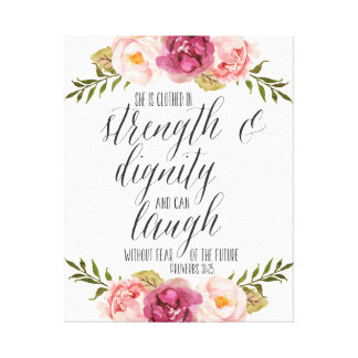 She is clothed in strength and dignity | Scripture Canvas Print