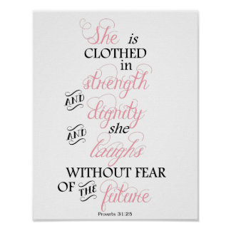 She is Clothed in Strength Breast Cancer Poster