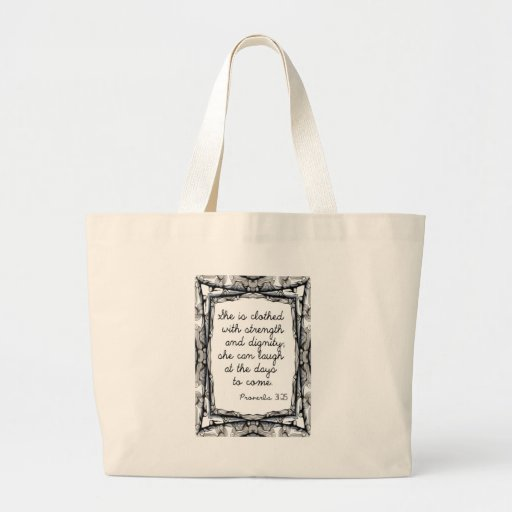 She is clothed with strength and dignity jumbo tote bag