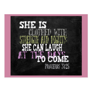 She is clothed with strength and dignity postcard