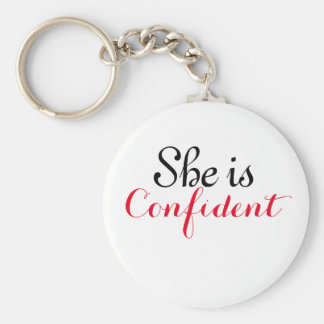 She is Confident Basic Button KeyChain