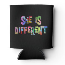 She Is Different Autism Awareness Autistic Can Cooler