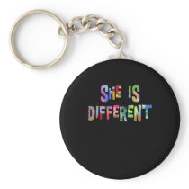 She Is Different Autism Awareness Autistic Keychain