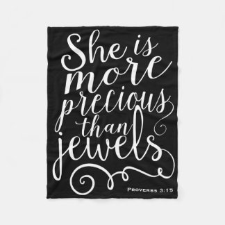 She is more precious than Jewels Proverbs Black Fleece Blanket