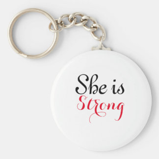 She is Strong Basic Button KeyChain