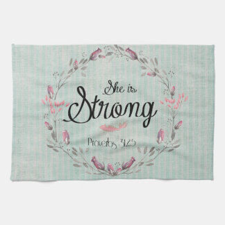 She is Strong Proverbs 31 Bible Verse Quote Hand Towels