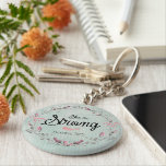 "She is Strong Proverbs 31 Bible Verse Quote Keychain<br><div class=""desc"">Proverbs 31 Bible Verse Quote Key Chains. Rustic aqua distressed background with soft pink pinstripes and vintage deep pink rose wreath with gray shading for a shabby chic feel and look, featuring an inspirational bible quote based on the scripture Proverbs 31. See more at our store, Christian Quotes. Link below:...</div>"