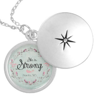 She is Strong Proverbs 31 Bible Verse Quote Silver Plated Necklace