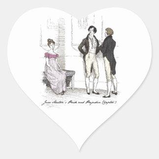 She is tolerable ... Jane Austen P&P CH3 Heart Sticker