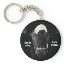 She is why I am Vegan Key Chain