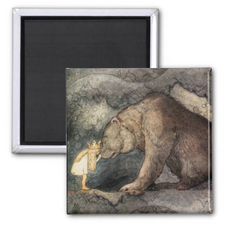 She Kissed the Bear's Nose 2 Inch Square Magnet