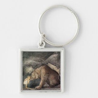 She Kissed the Bear's Nose Silver-Colored Square Keychain