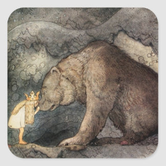 She Kissed the Bear's Nose Square Sticker