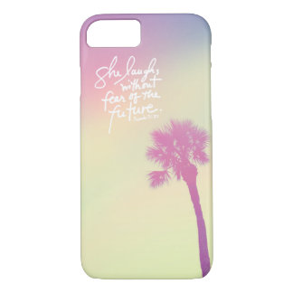 She Laughs Vintage Palm Sunset Proverbs 31:25 iPhone 8/7 Case