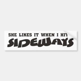 she likes it sideways bumper sticker