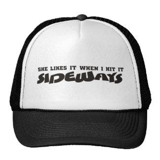 she likes it sideways trucker hat