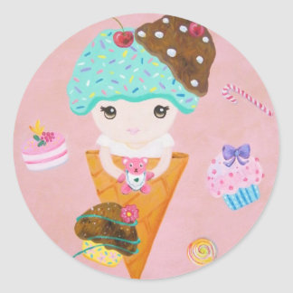 She Lives In A Sweet Dream Classic Round Sticker
