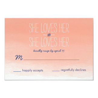 She Loves Her Lesbian Wedding RSVP Card