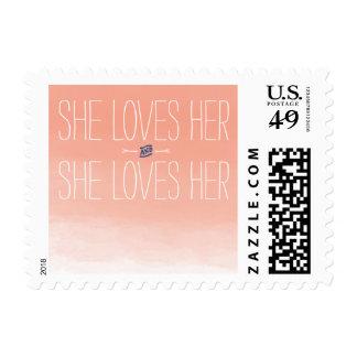 She Loves Her Lesbian Wedding Stamp