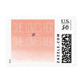She Loves Her Lesbian Wedding Stamp