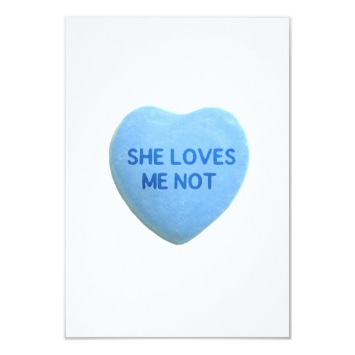 She Loves Me Not Blue Candy Heart Invitations