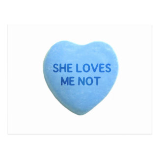 She Loves Me Not Blue Candy Heart Postcard