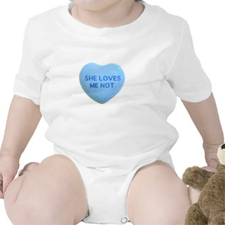 She Loves Me Not Blue Candy Heart Tshirts