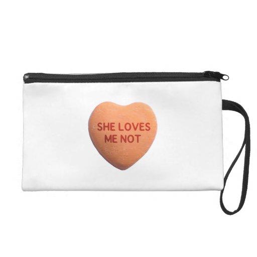She Loves Me Not Orange Candy Heart Wristlet Purses