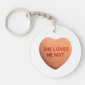She Loves Me Not Orange Candy Heart Keychain