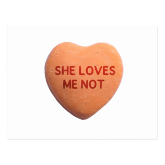 She Loves Me Not Orange Candy Heart Postcard