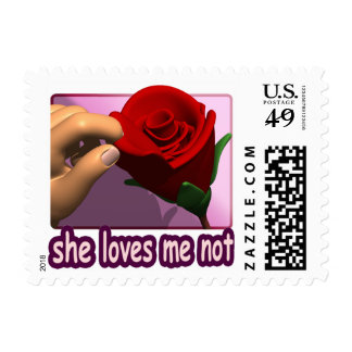 She Loves Me Not Postage Stamp