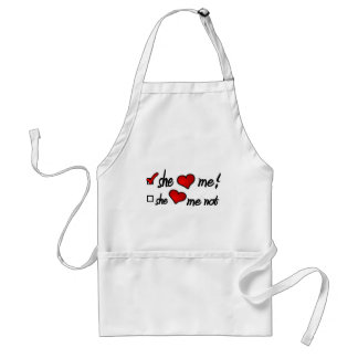 She Loves Me With Check Mark In Box & Hearts Adult Apron